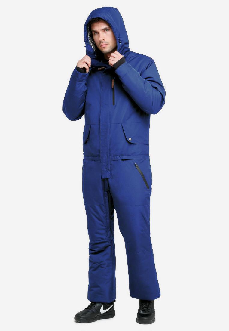 Купить оптом Комбинезон горнолыжный мужской синего цвета 18126S в Екатеринбурге