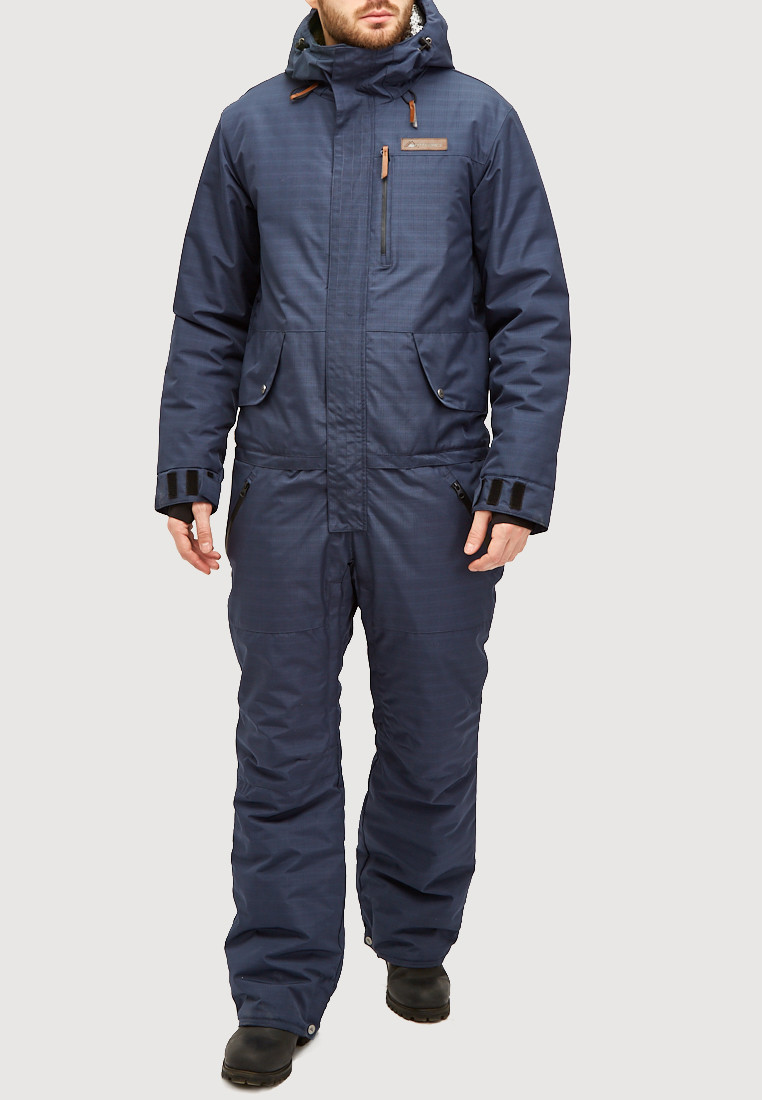 Купить оптом Комбинезон горнолыжный мужской темно-синего цвета 18126TS в Нижнем Новгороде