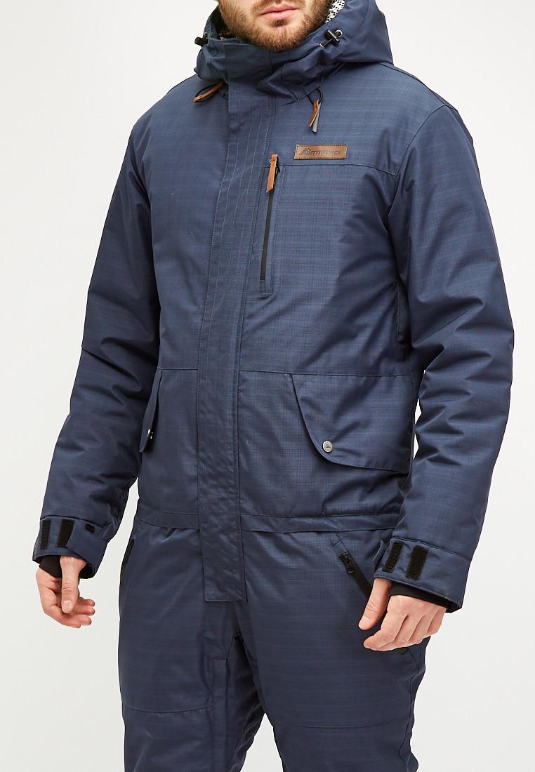 Купить оптом Комбинезон горнолыжный мужской темно-синего цвета 18126TS в Волгоградке