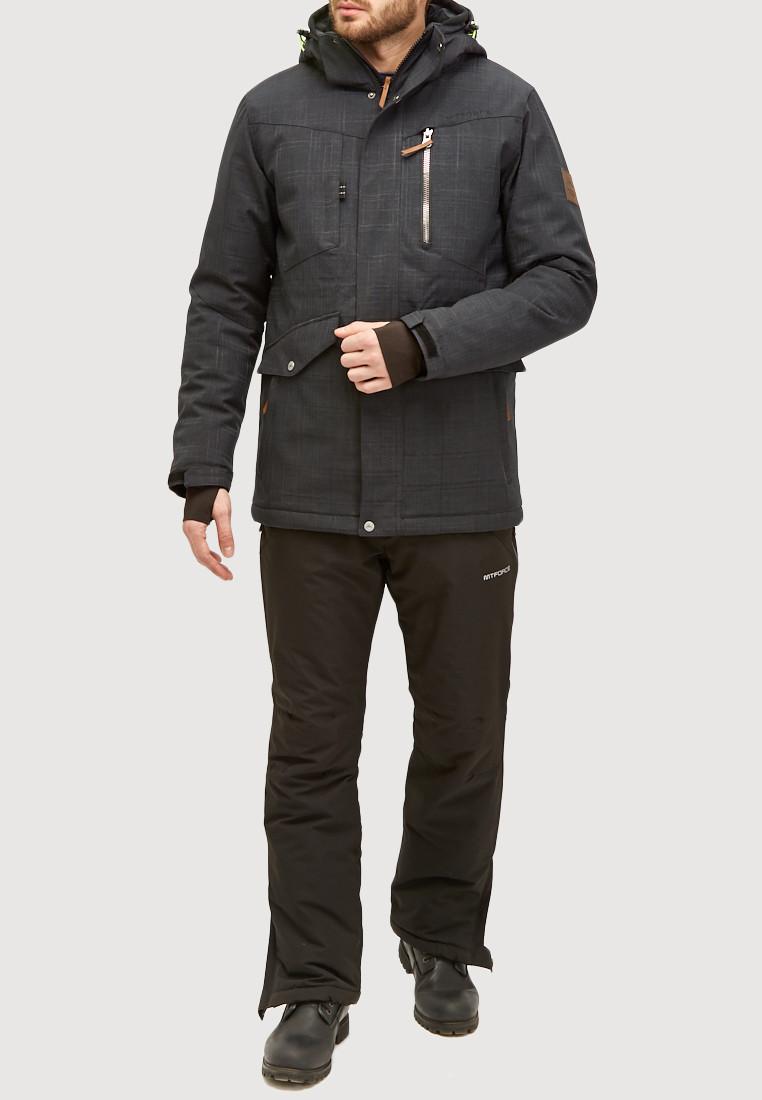 Купить оптом Мужской зимний горнолыжный костюм черного цвета 018128Ch в Казани