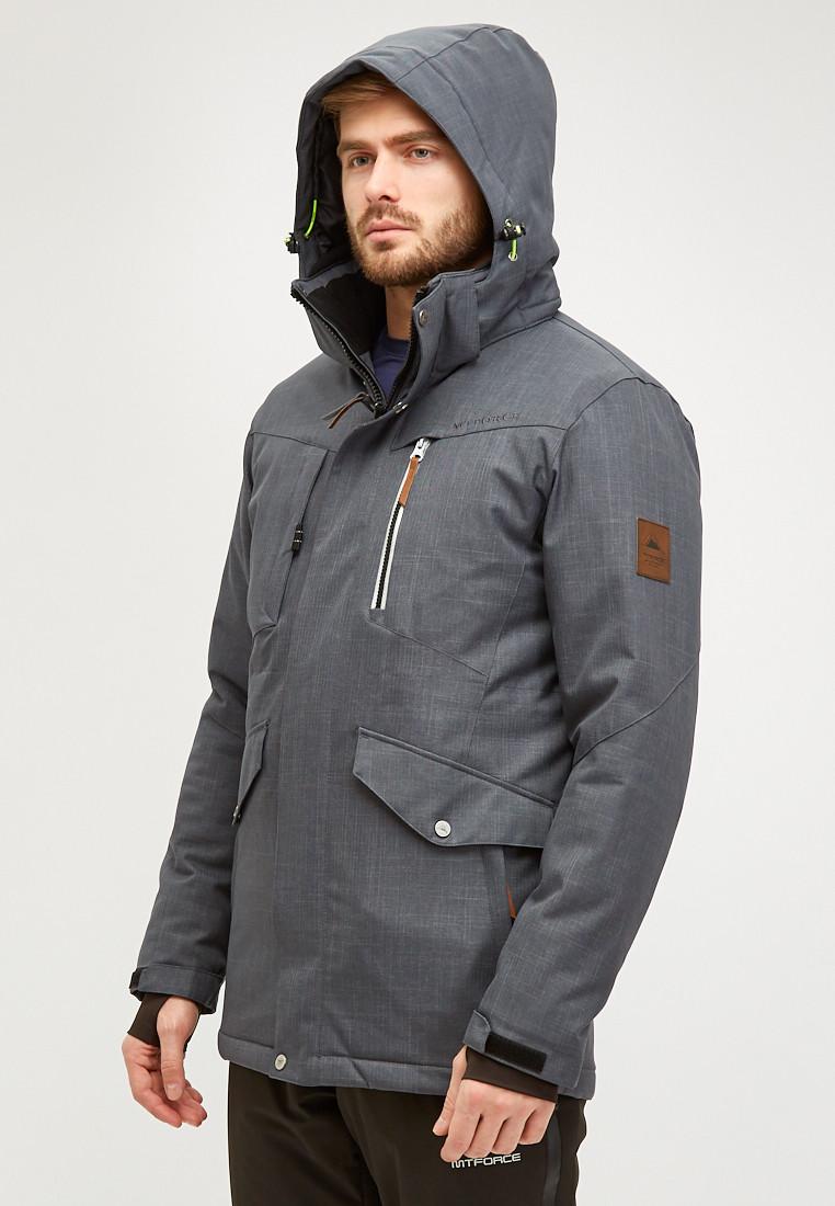 Купить оптом Мужской зимний горнолыжный костюм серого цвета 018128Sr