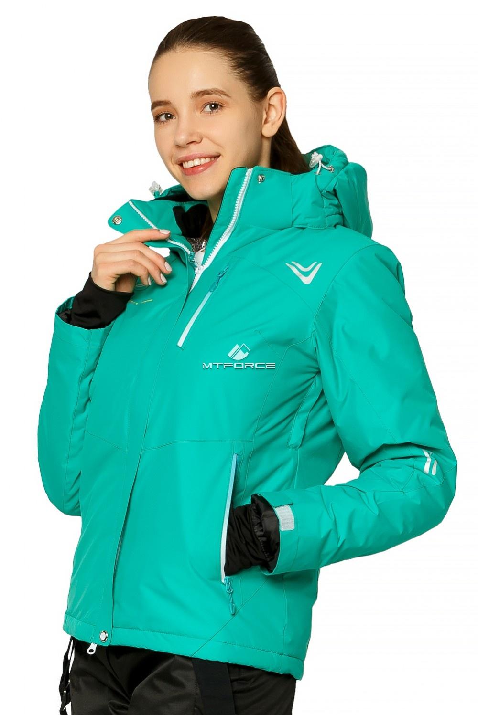 Купить оптом Костюм горнолыжный женский зеленого цвета 01812Z в Нижнем Новгороде