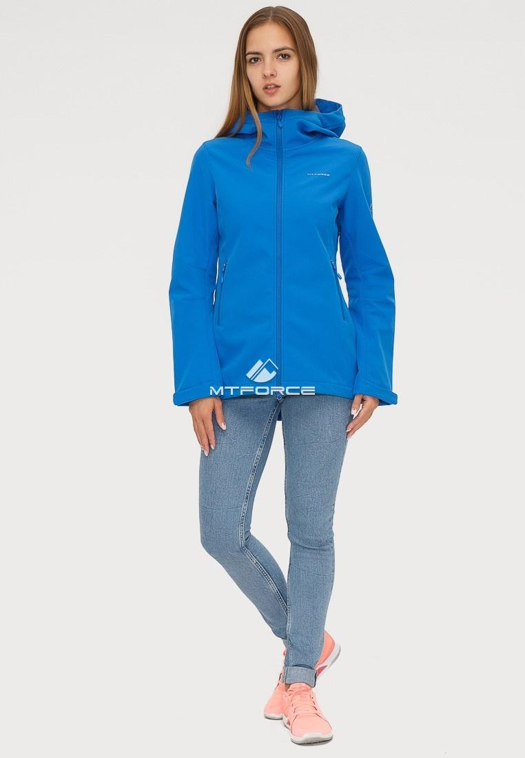 Купить оптом Ветровка softshell женская синего цвета 1816-1S в Омске