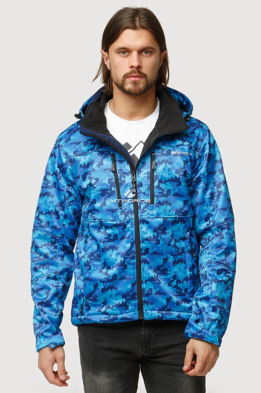 Купить оптом Ветровка softshell мужская осень весна синего цвета 1817S