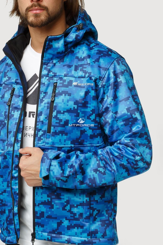 Купить оптом Ветровка softshell мужская осень весна синего цвета 1817S в  Красноярске