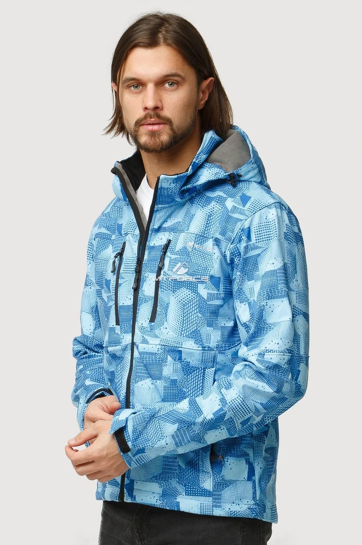 Купить оптом Ветровка softshell мужская осень весна голубого цвета 1817Gl в Казани