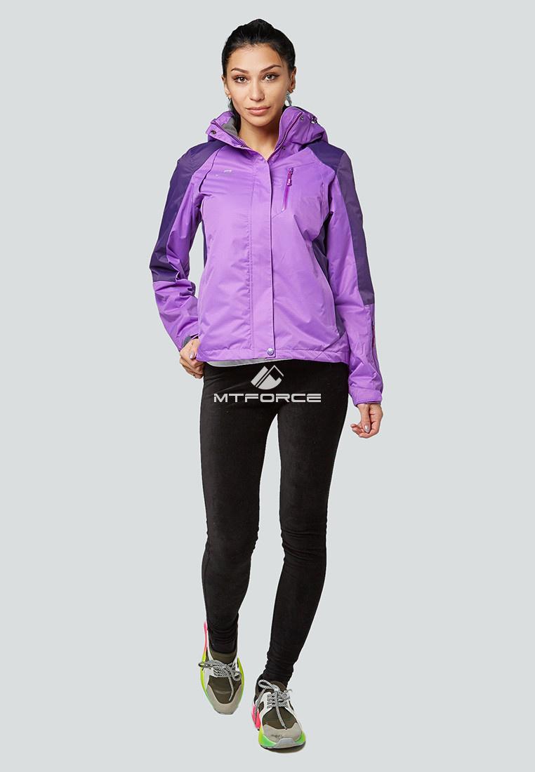 Купить оптом Курка спортивная женская (плащёвка new 2019) фиолетового цвета 1822F в Нижнем Новгороде