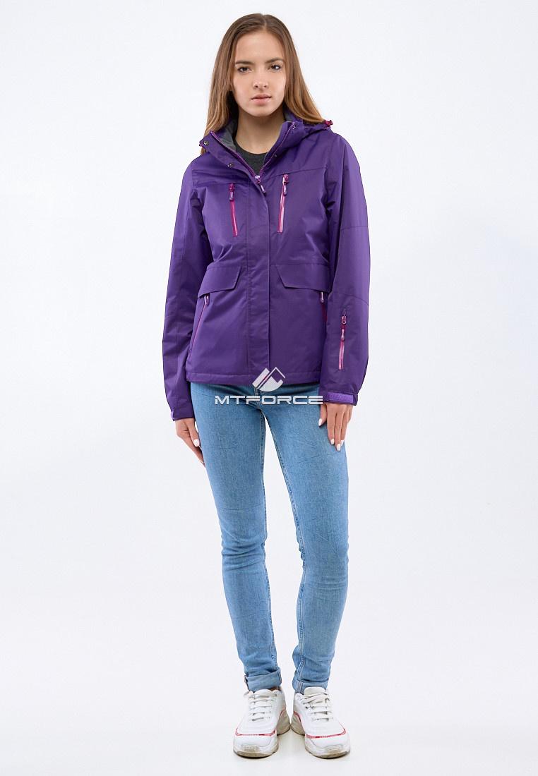 Купить оптом Курка спортивная женская (плащёвка new 2019) темно-фиолетового цвета 1825TF в Казани