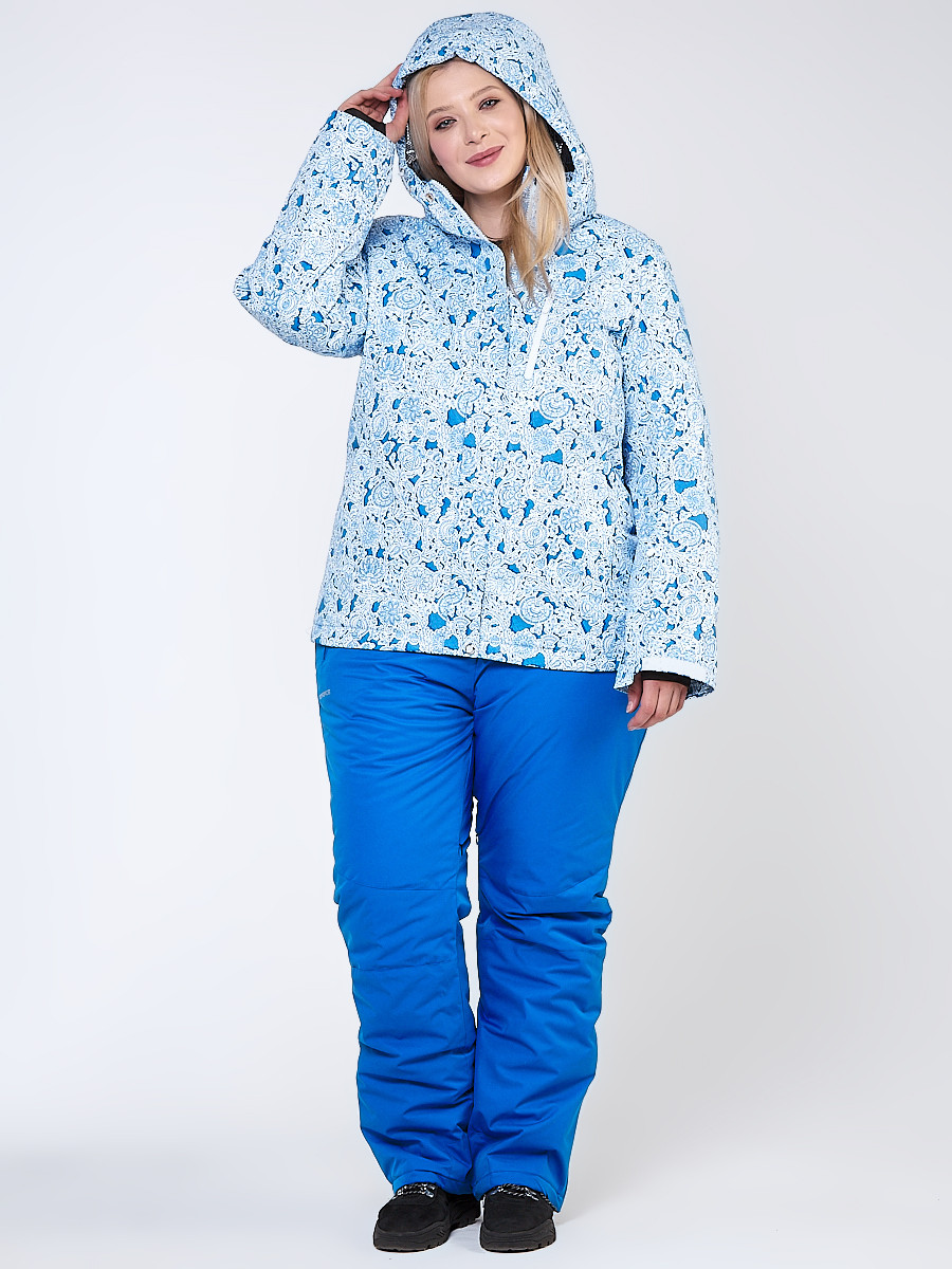 Купить оптом Костюм горнолыжный женский большого размера синего цвета 01830-1S в Санкт-Петербурге