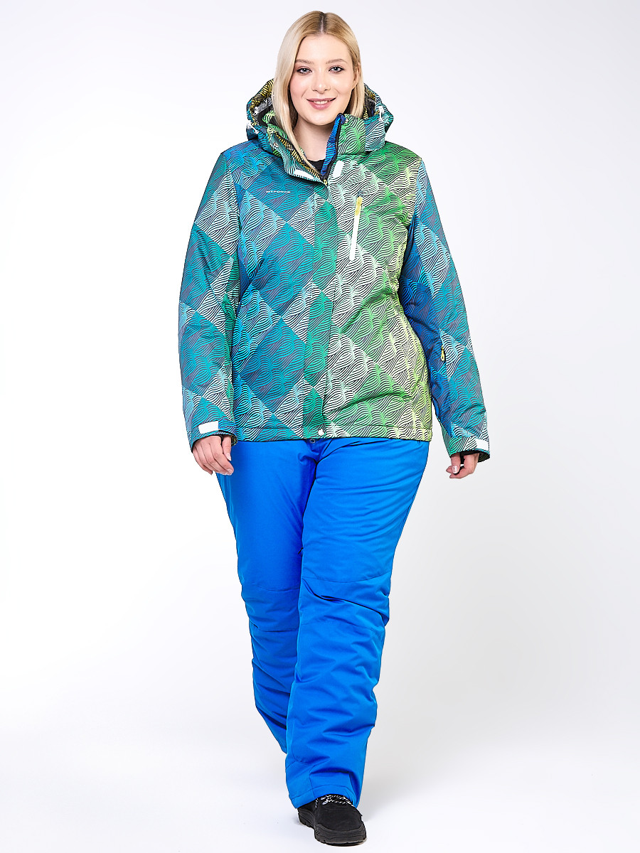 Купить оптом Костюм горнолыжный женский большого размера салатового цвета 01830-2Sl в  Красноярске