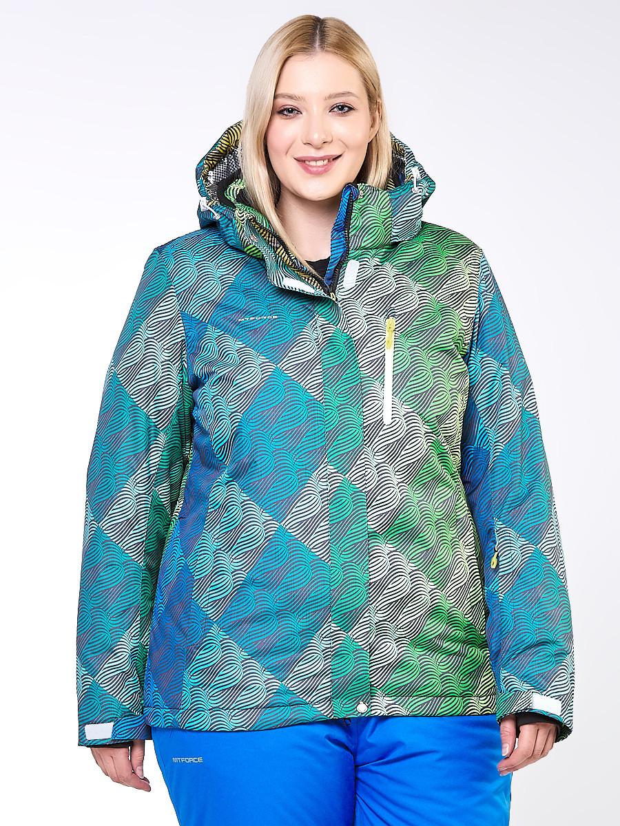 Купить оптом Куртка горнолыжная женская большого размера салатового цвета 1830-2Sl