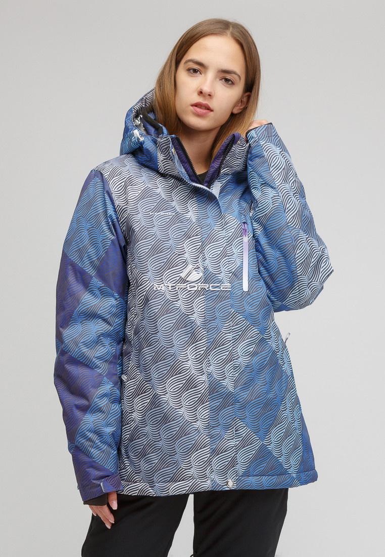 Купить оптом Куртка горнолыжная женская большого размера синего цвета 1830-2S в Екатеринбурге