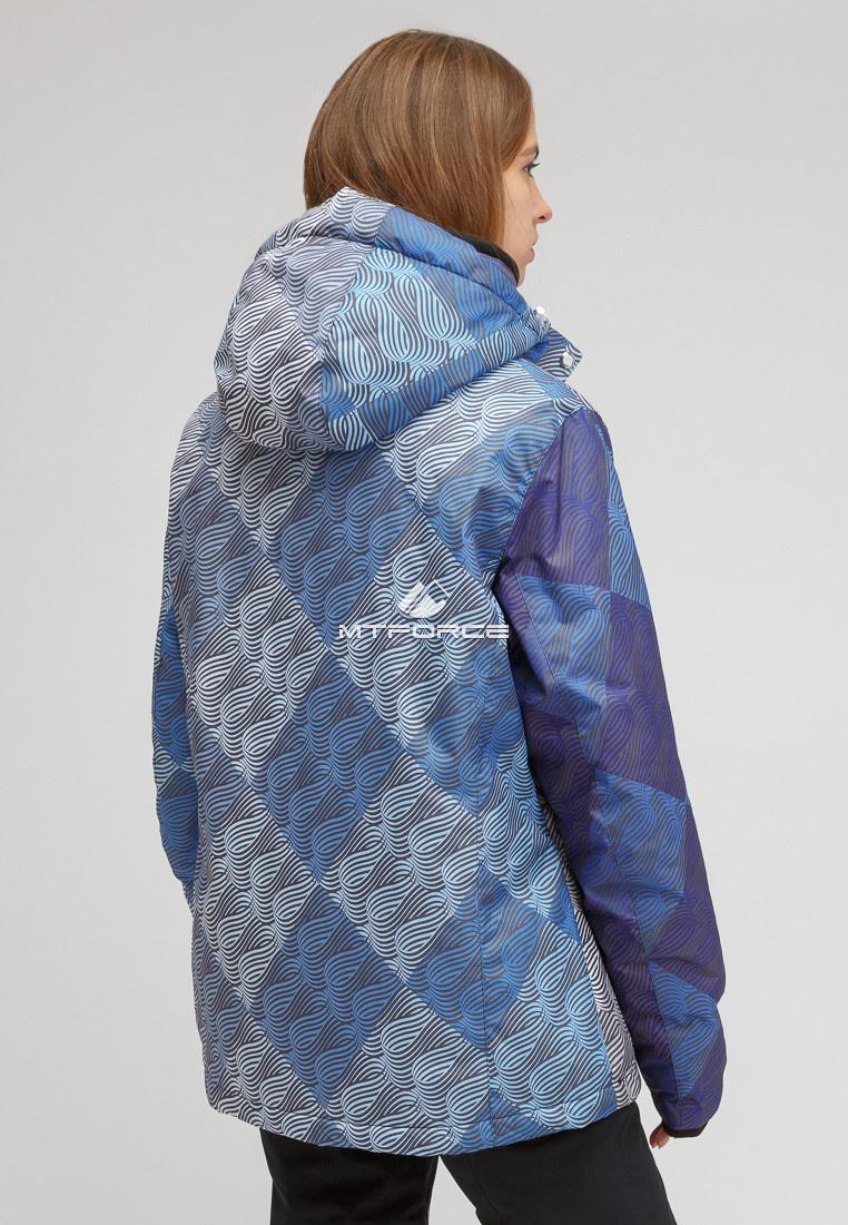 Купить оптом Костюм горнолыжный женский большого размера синего цвета 01830-2S