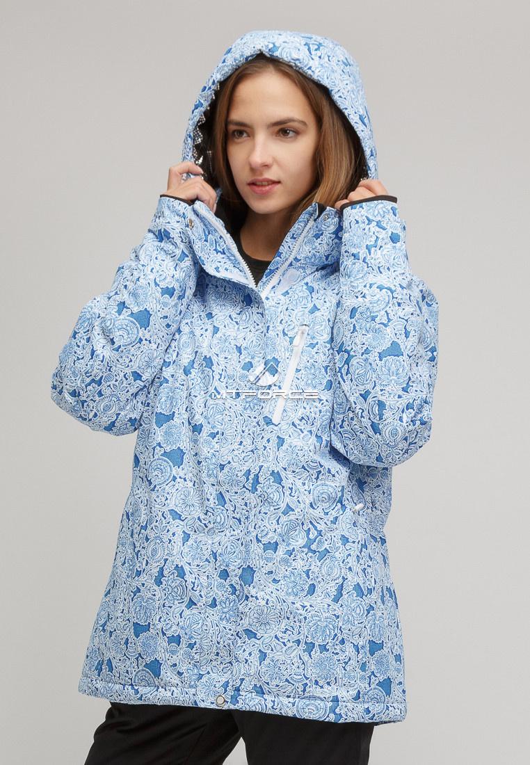 Купить оптом Костюм горнолыжный женский большого размера синего цвета 01830-1S