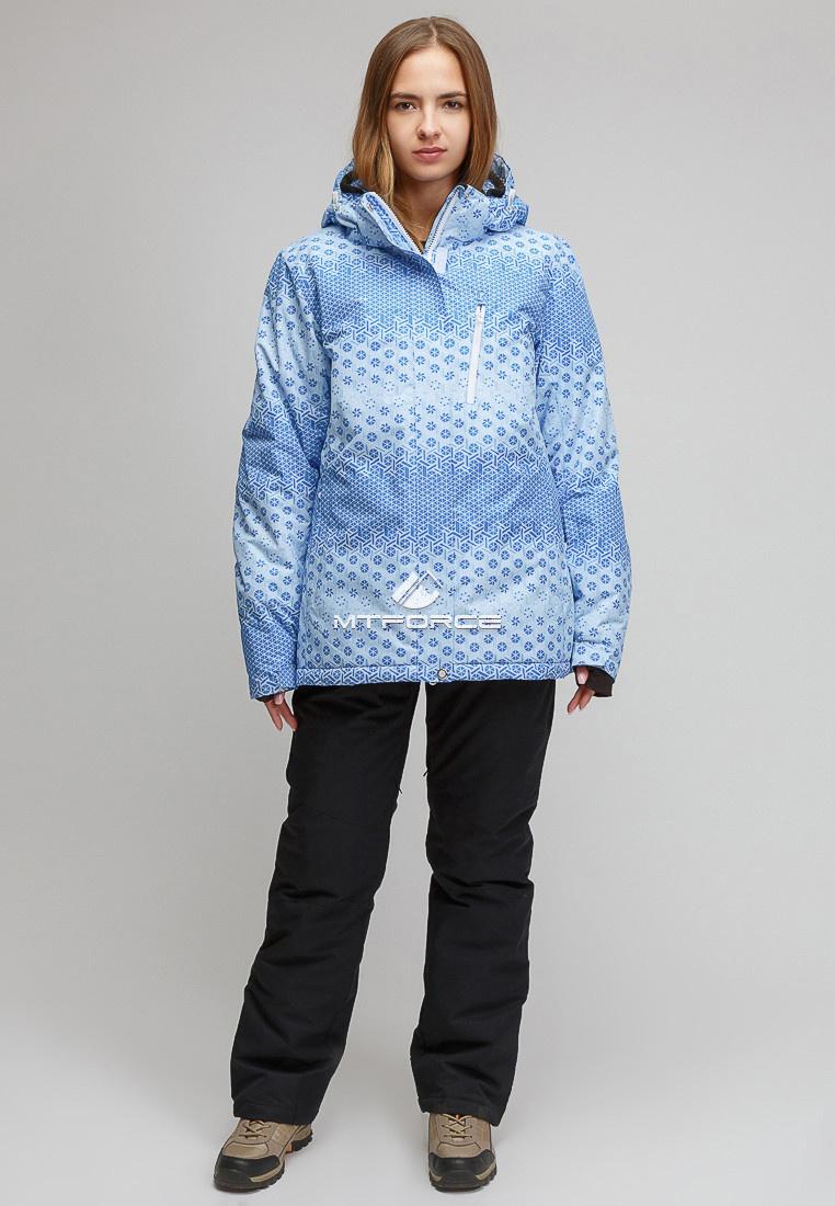 Купить оптом Костюм горнолыжный женский большого размера голубого цвета 01830Gl