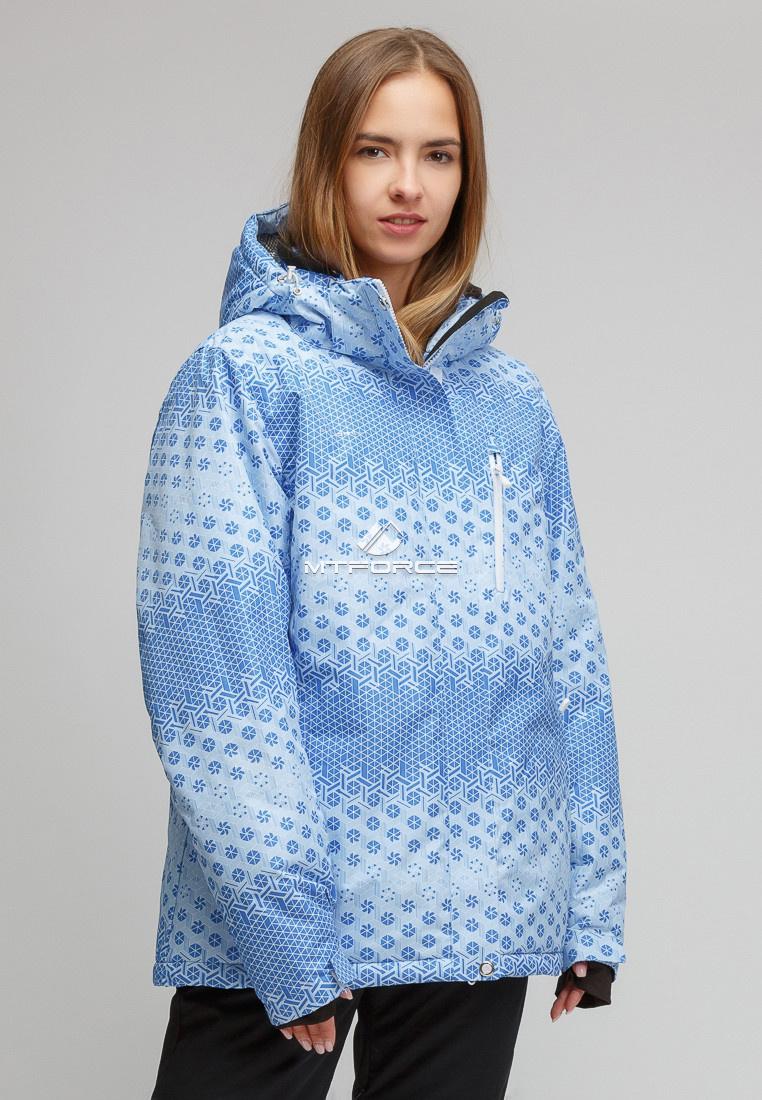 Купить оптом Куртка горнолыжная женская большого размера голубого цвета 1830Gl