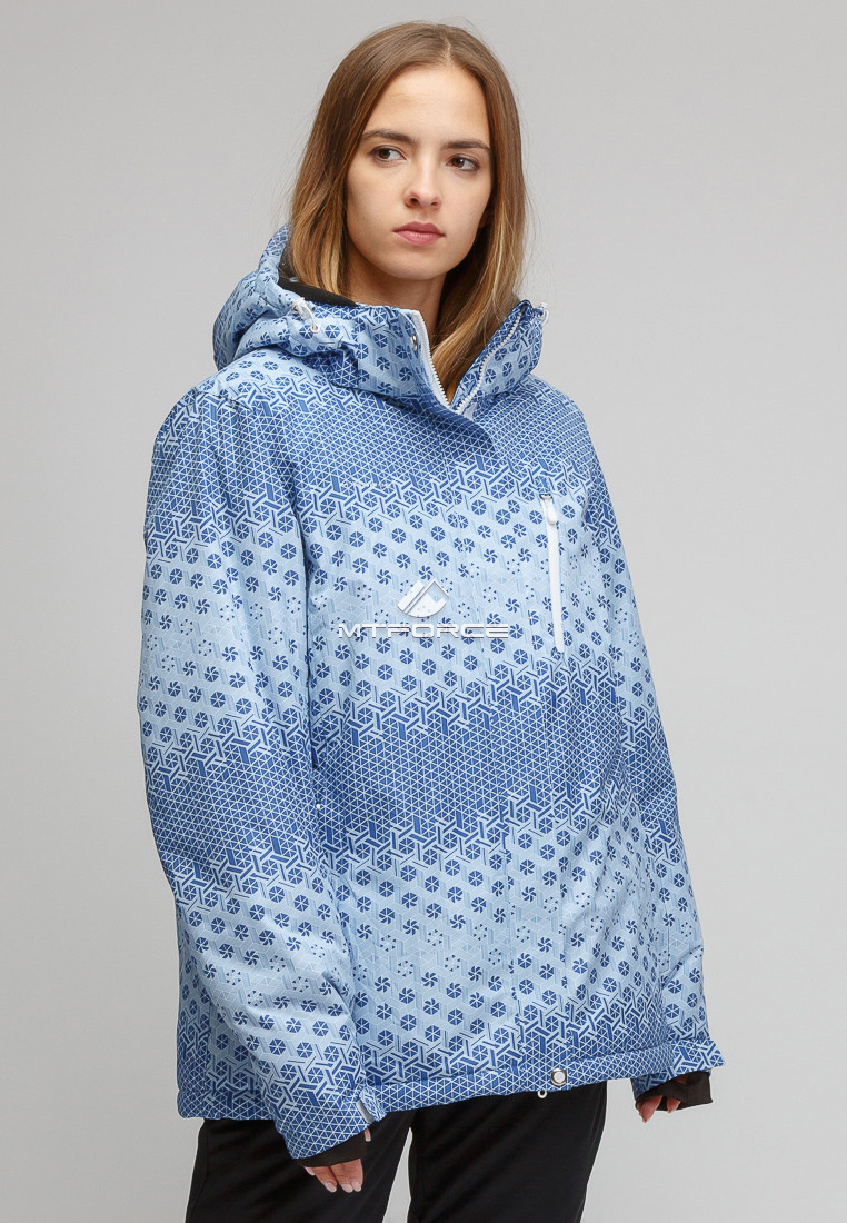 Купить оптом Костюм горнолыжный женский большого размера синего цвета 01830S