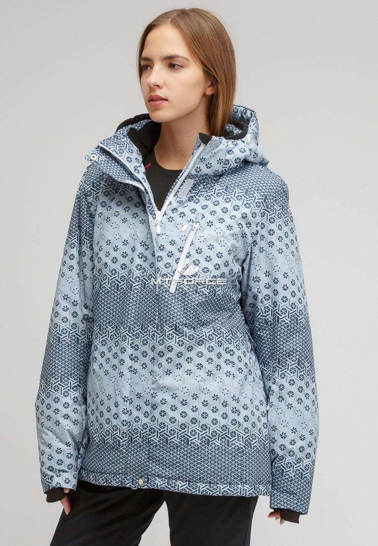 Купить оптом Костюм горнолыжный женский большого размера серого цвета 01830Sr