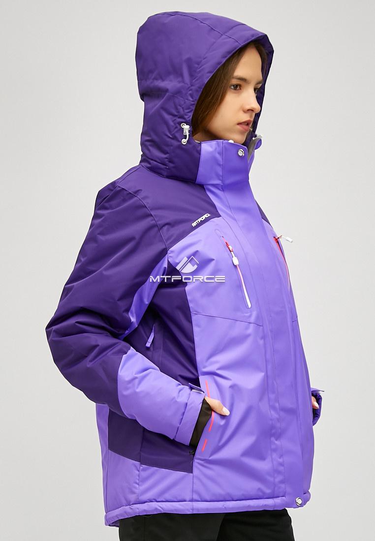 Купить оптом Женский зимний горнолыжный костюм большого размера фиолетового цвета 01850F