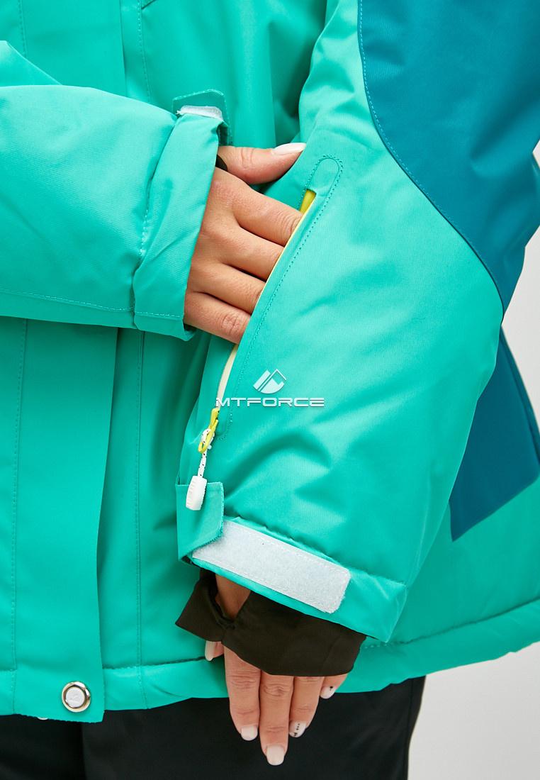 Купить оптом Женский зимний горнолыжный костюм большого размера зеленого цвета 01850Z
