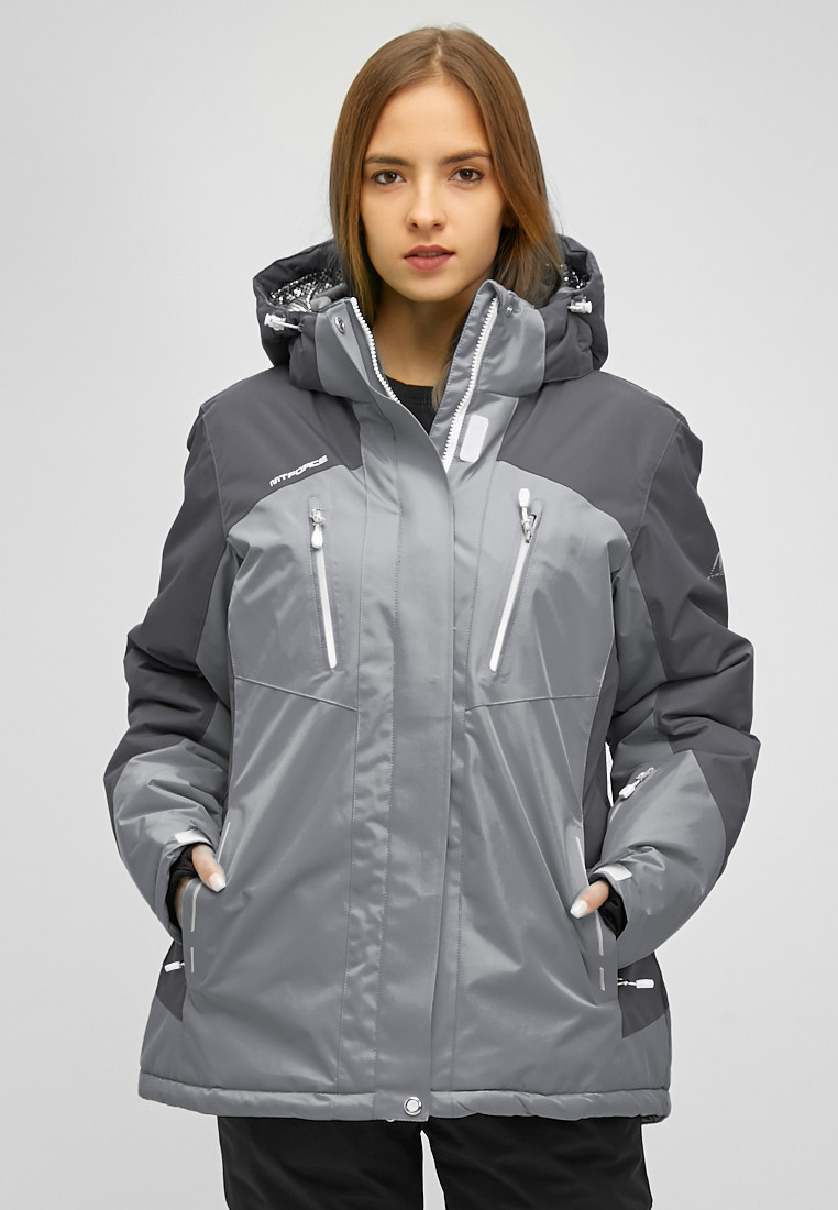 Купить оптом Женский зимний горнолыжный костюм большого размера серого цвета 01850Sr