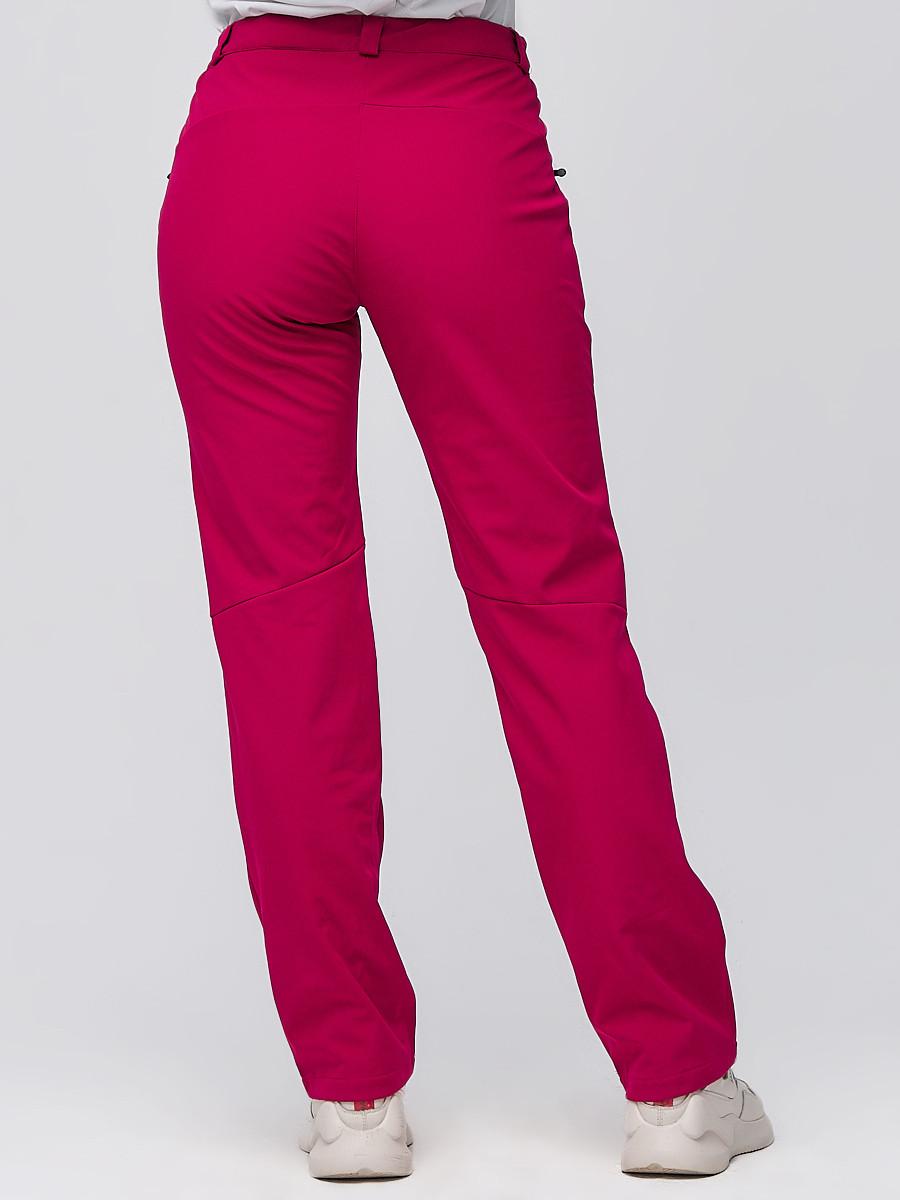 Купить оптом Брюки женские из ткани softshell бордового цвета 1851Bo в Воронеже