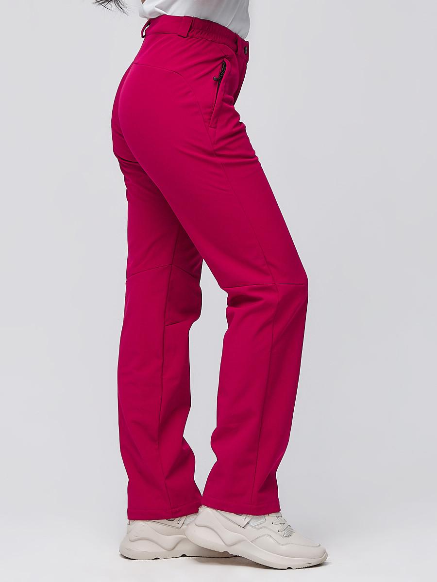 Купить оптом Брюки женские из ткани softshell бордового цвета 1851Bo в Сочи