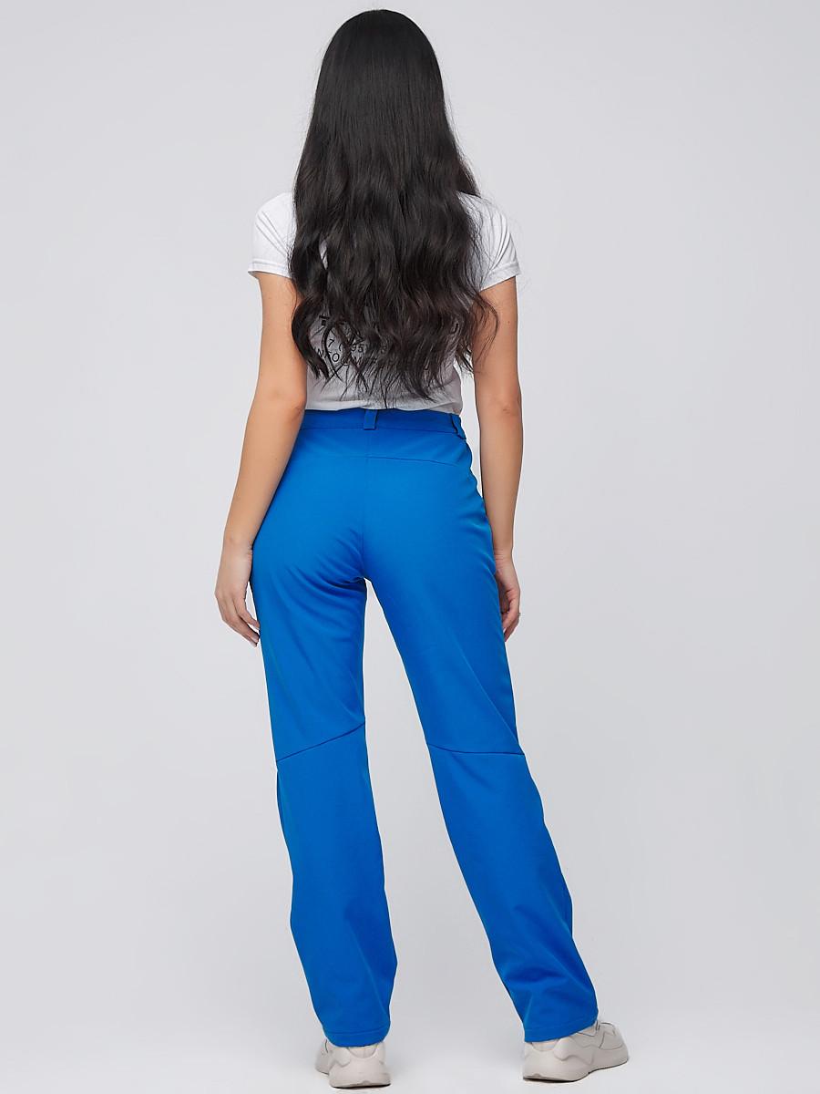 Купить оптом Брюки женские из ткани softshell синего цвета 1851S