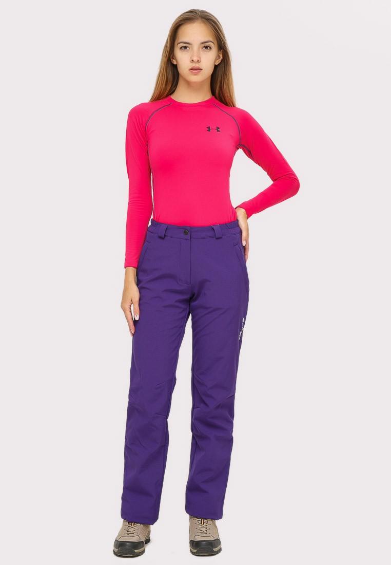 Купить оптом Брюки женские большого размера фиолетового цвета  1852-1F в Екатеринбурге