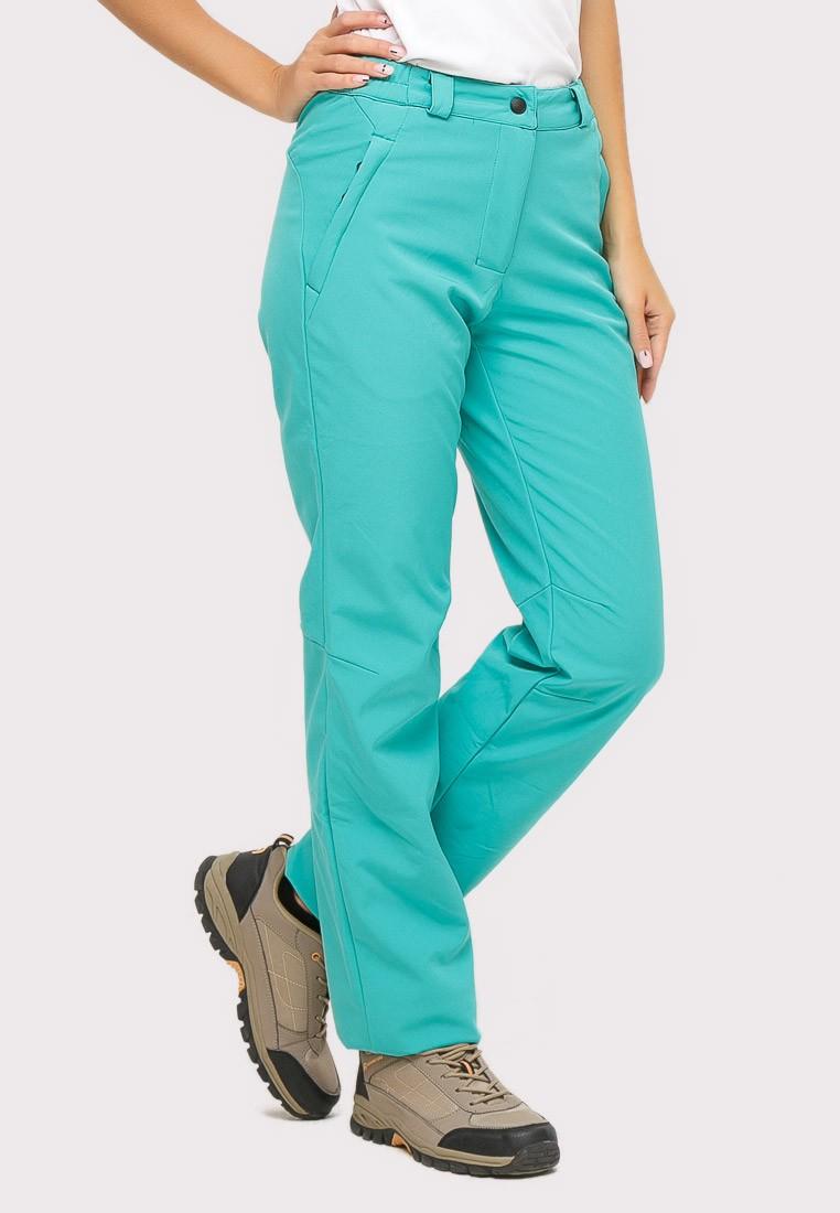 Купить оптом Брюки женские из ткани softshell бирюзового цвета 1851Br