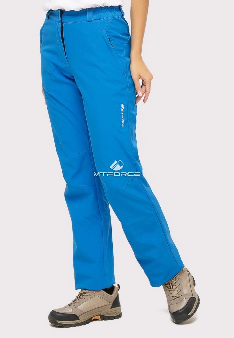 Купить оптом Брюки женские из ткани softshell синего цвета 1851S в Воронеже