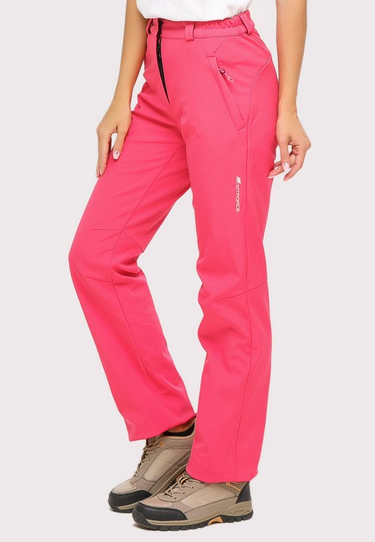 Купить оптом Брюки женские из ткани softshell розового цвета 1851R в  Красноярске