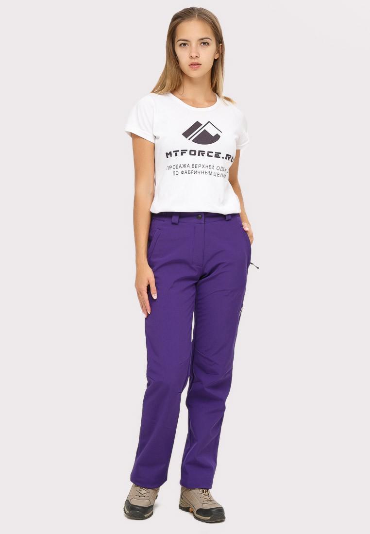 Купить оптом Брюки женские из ткани softshell фиолетового цвета 1851F