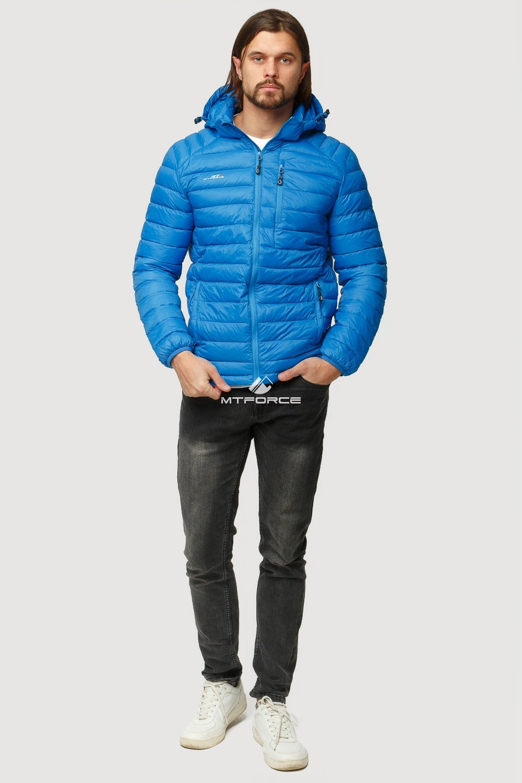 Купить оптом Куртка мужская стеганная голубого цвета 1852G