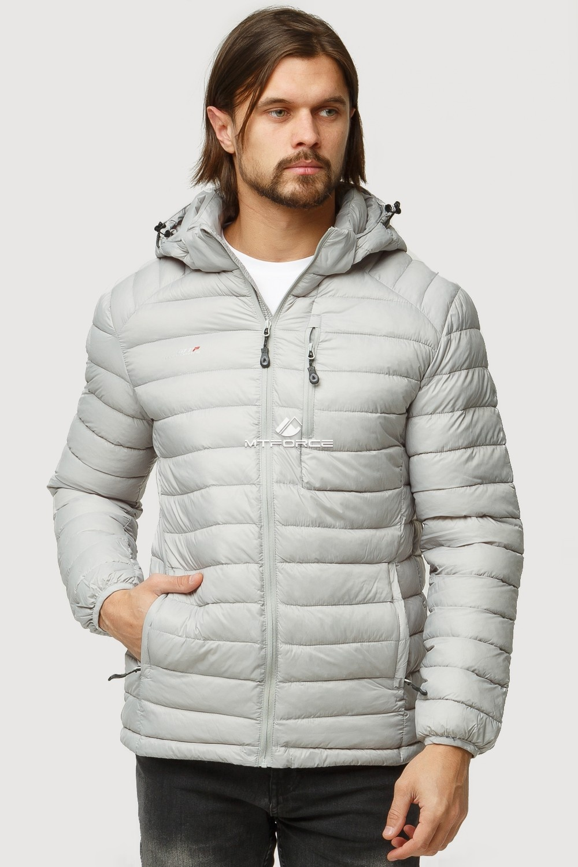Купить оптом Куртка мужская стеганная светло-серого цвета 1852SS в Казани