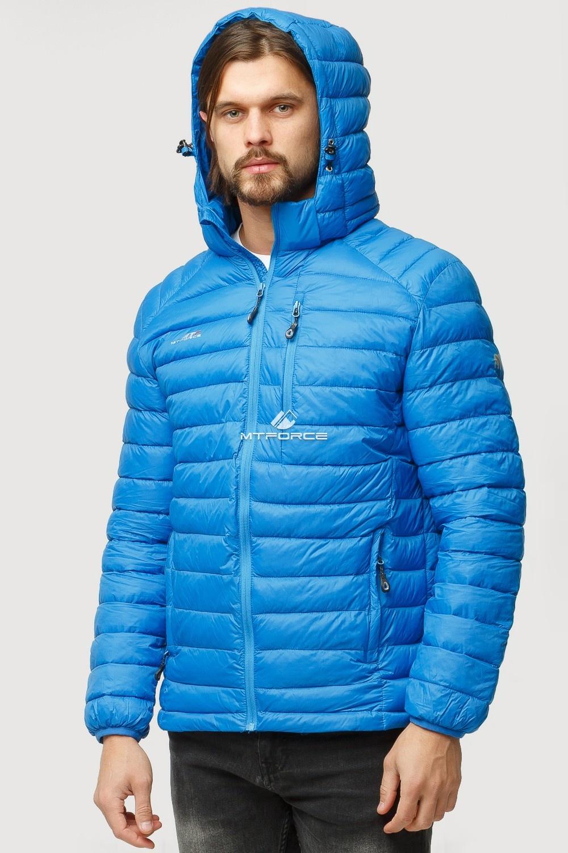 Купить оптом Куртка мужская стеганная голубого цвета 1852G в Казани