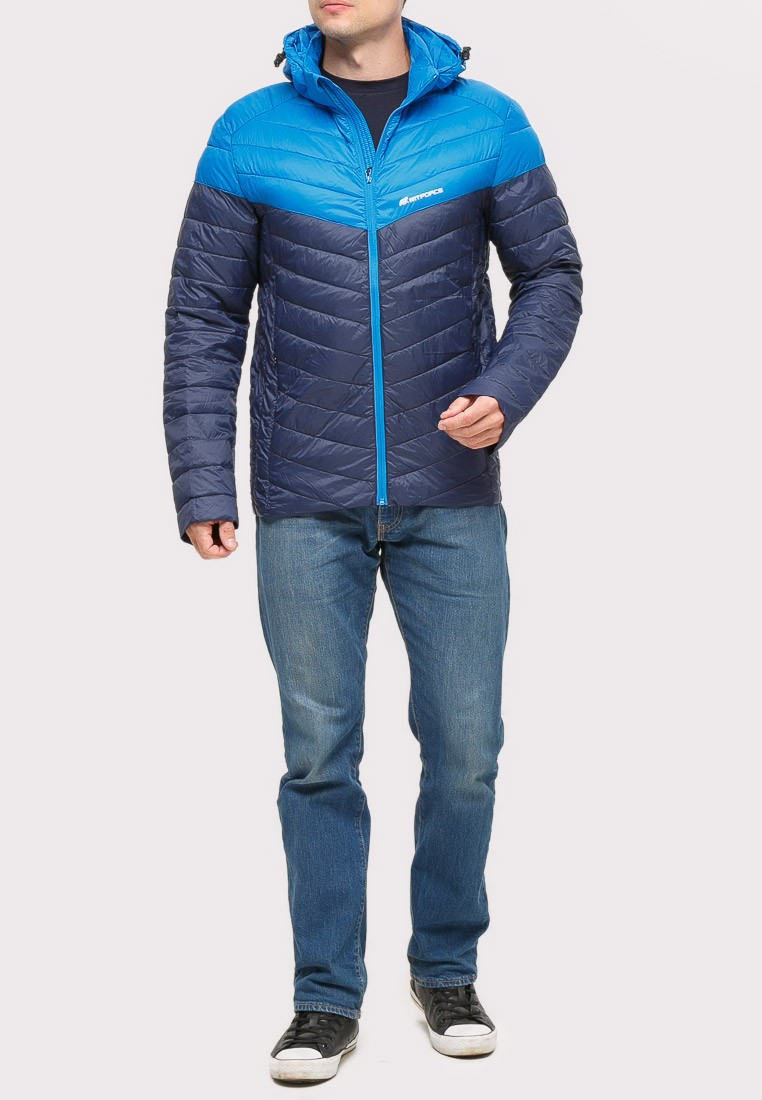 Купить оптом Куртка мужская стеганная темно-синего цвета 1853TS в  Красноярске