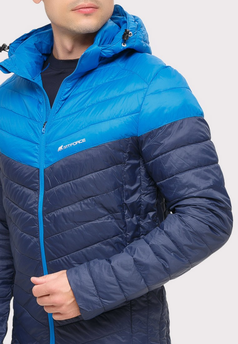 Купить оптом Куртка мужская стеганная темно-синего цвета 1853TS