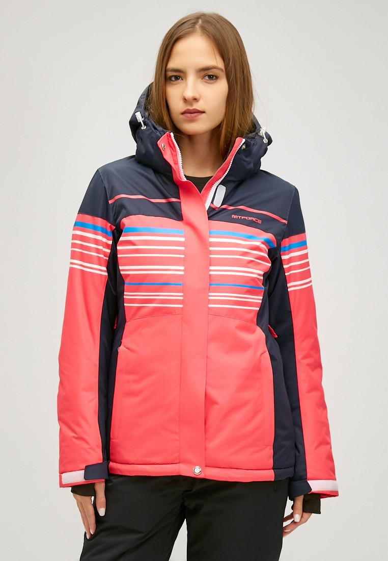 Купить оптом Женская зимняя горнолыжная куртка розового цвета 1856R в Нижнем Новгороде