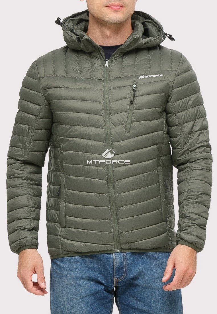 Купить оптом Куртка мужская стеганная цвета хаки 1858Kh в Новосибирске