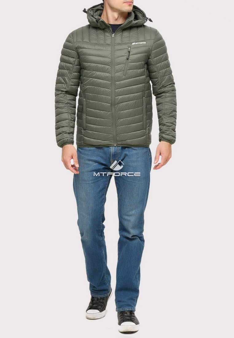 Купить оптом Куртка мужская стеганная цвета хаки 1858Kh в Екатеринбурге