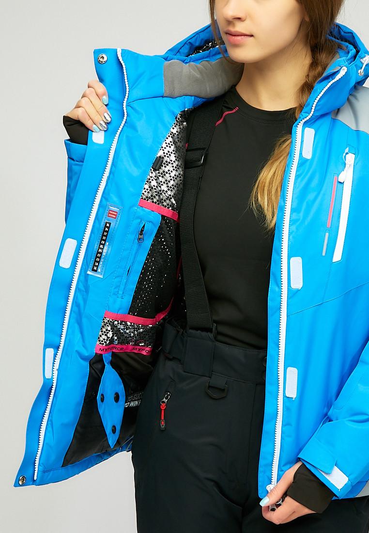 Купить оптом Женская зимняя горнолыжная куртка синего цвета 1861S
