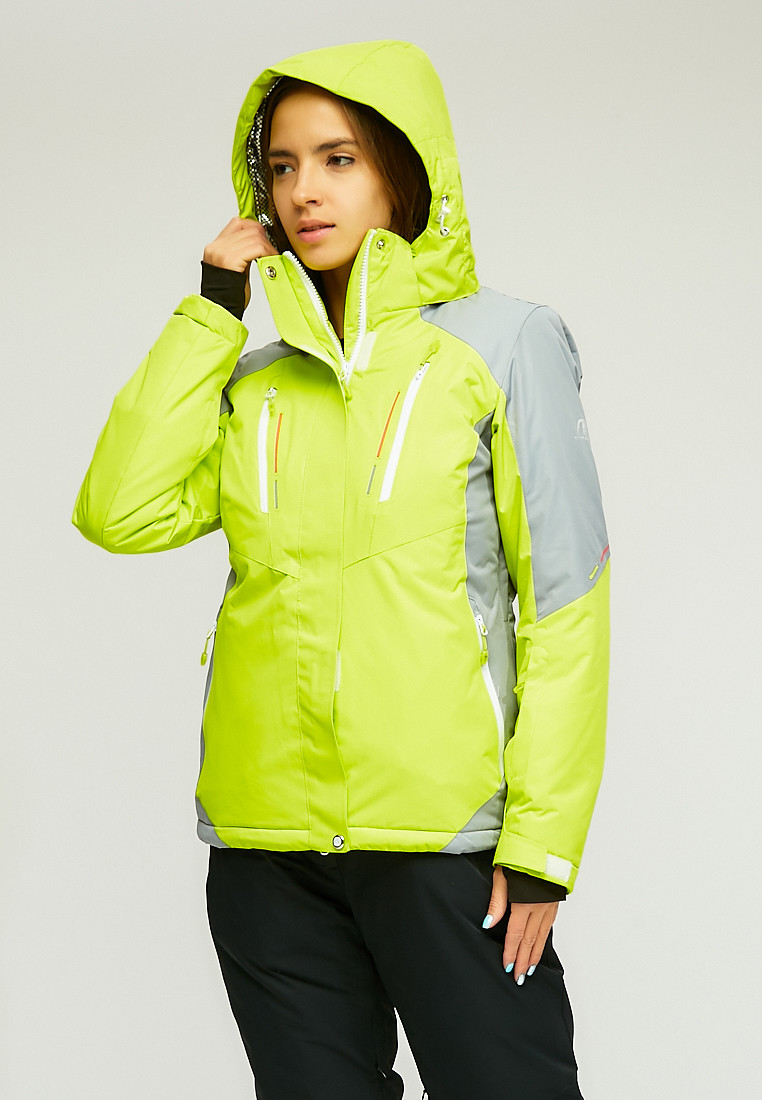 Купить оптом Женская зимняя горнолыжная куртка желтого цвета 1861J