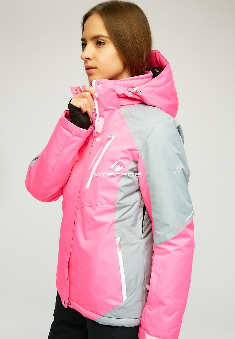 Купить оптом Женская зимняя горнолыжная куртка розового цвета 1861R