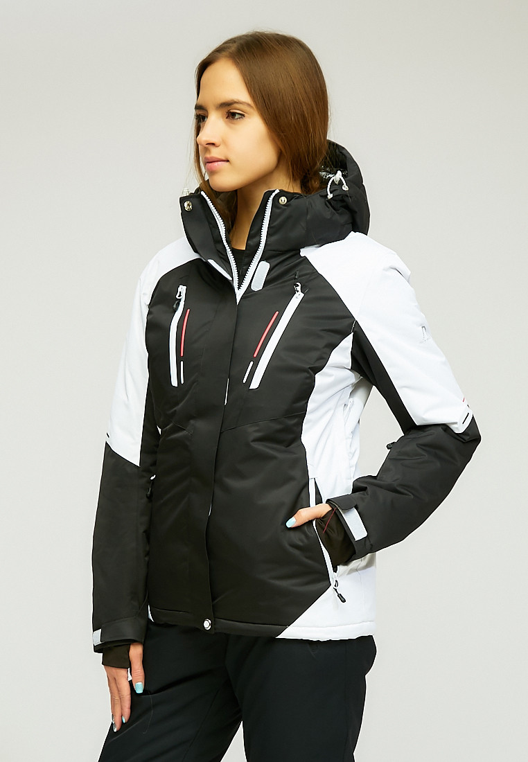 Купить оптом Женская зимняя горнолыжная куртка черного цвета 1861Ch