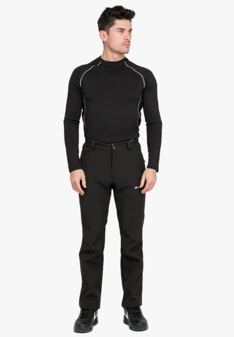 Купить оптом Брюки мужские из ткани softshell черного цвета  1868Ch в Казани