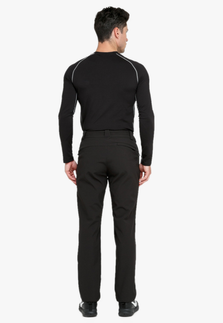 Купить оптом Брюки мужские из ткани softshell черного цвета  1868Ch в Перми