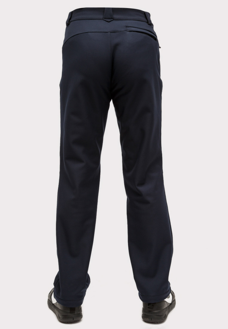 Купить оптом Брюки мужские из ткани softshell большого размера темно-синего цвета 1869TS в Омске