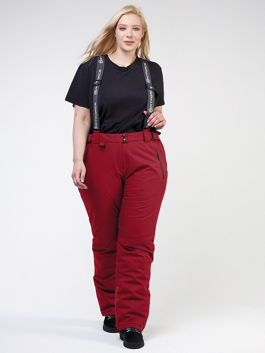 Купить оптом Брюки горнолыжные женские большого размера бордового цвета 1878Bo в Екатеринбурге