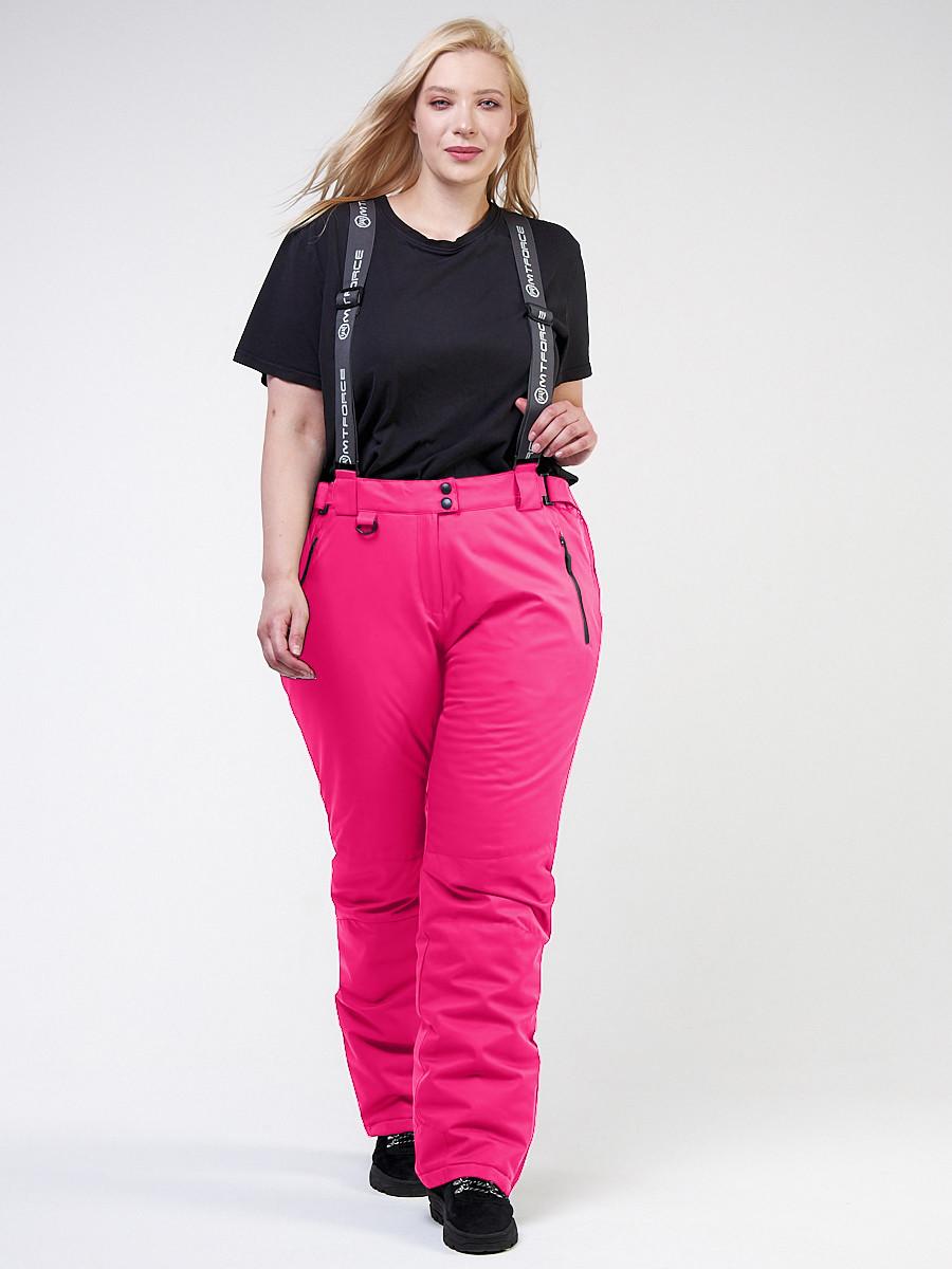 Купить оптом Брюки горнолыжные женские большого размера розового цвета 1878R в Екатеринбурге